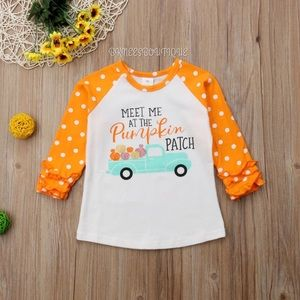 Fall Pumpkin Ruffle Little Girl Boutique Top 🎊